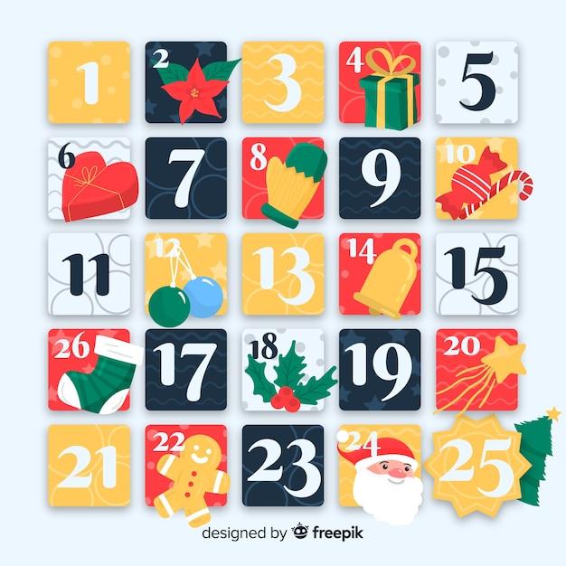 オリジナルアドベントカレンダー 無料ベクター