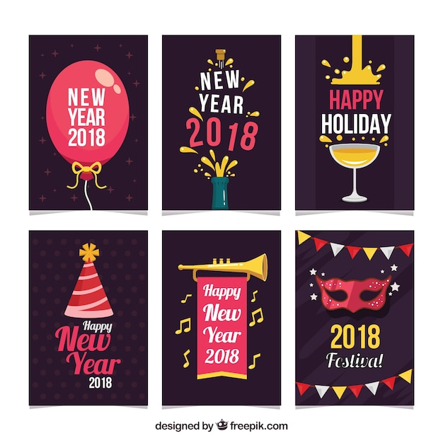 original and funny new year 2018 cards vector free download