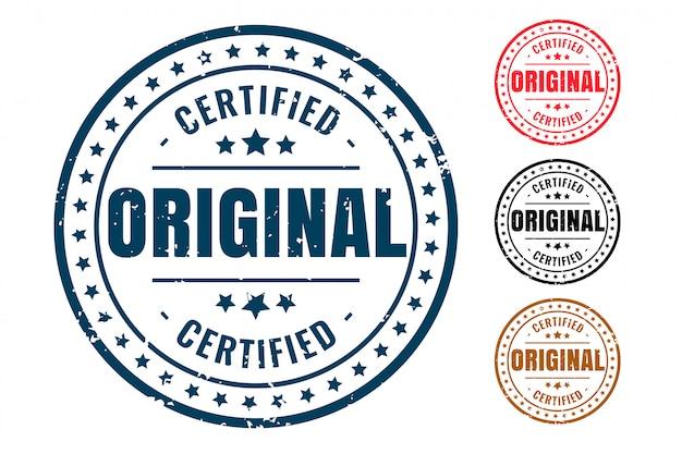 Timbro di gomma originale certificato prodotto set di quattro Vettore gratuito
