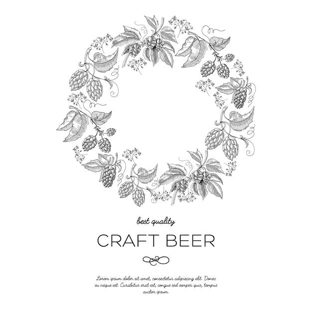 Оригинальный круг венок рамка орнамент открытка с ягодами хмеля Бесплатные векторы