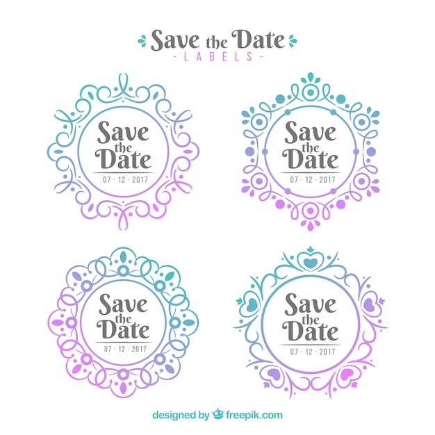 Original collection of flat wedding labels