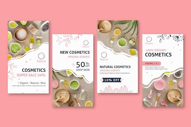 Original essence natural cosmetics social media stories Free Vector