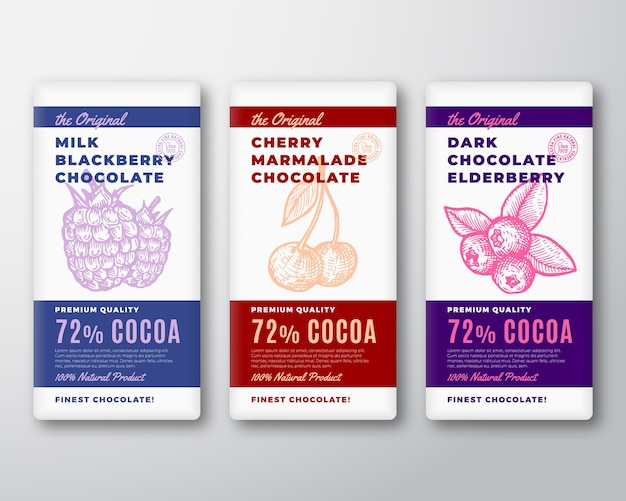 The original finest chocolate abstract  packaging  labels set. Free Vector