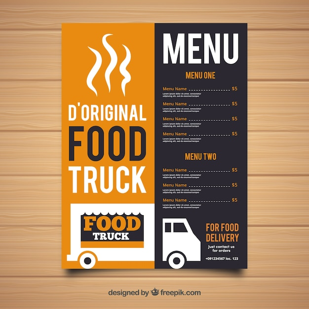 Original Food Truck Menu Template Vector Free Download - Delivery menu template