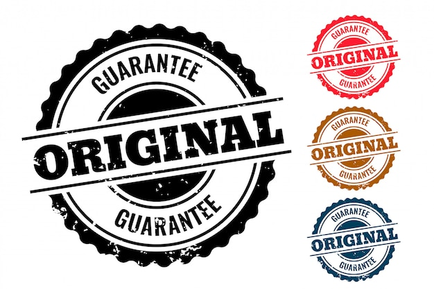 Original guarantee authentic rubber stamp set of four Free Vector