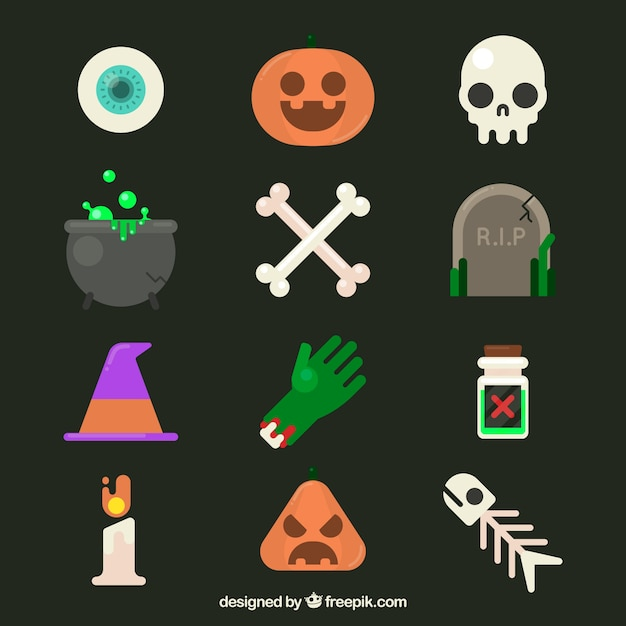 Original halloween elements with flat design Free Vector