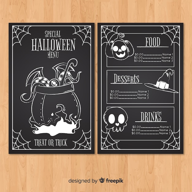 original halloween menu template with flat design vector free download