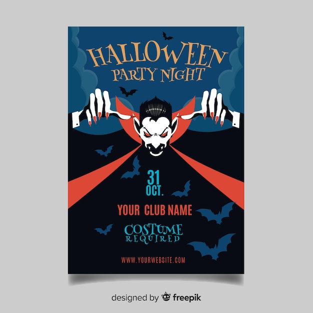 Original halloween party poster template with flat design Free Vector