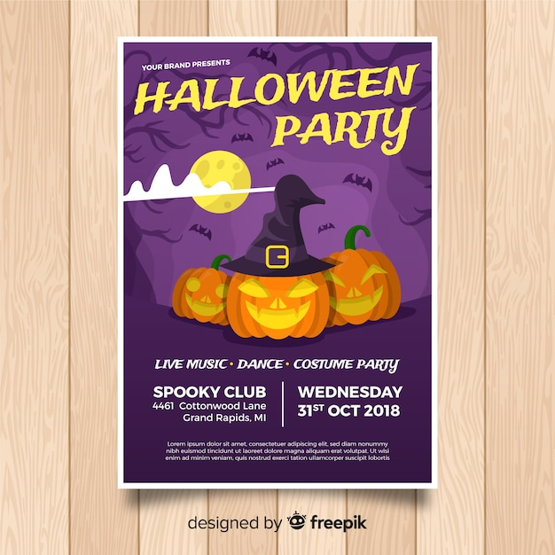 original halloween party poster template with flat design vector