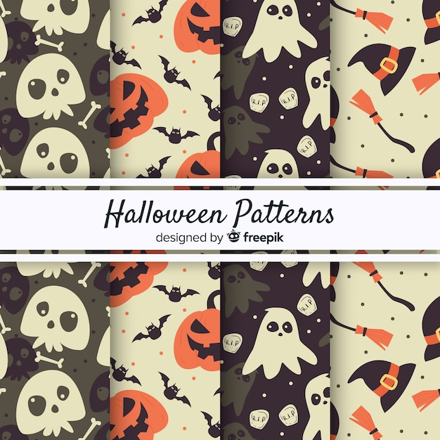 Original halloween pattern collection with vintage style Free Vector