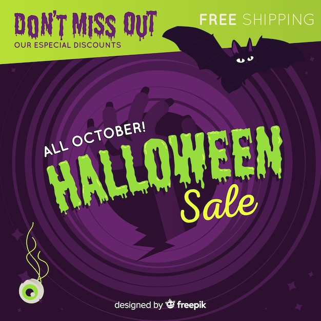 Original halloween sale composition with flat design Free Vector