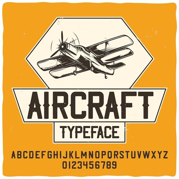 「aircraft」という名前のオリジナルのラベル書体。 無料ベクター