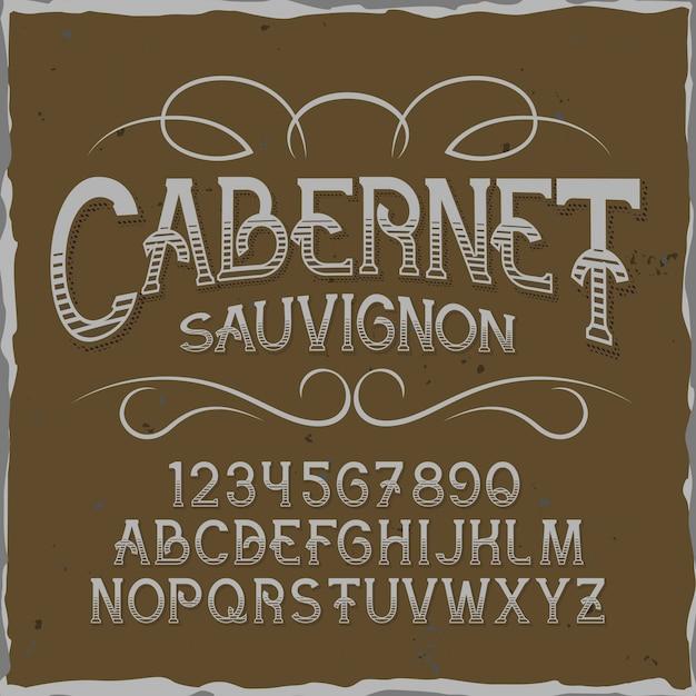 Оригинальный шрифт этикетки «каберне». Бесплатные векторы