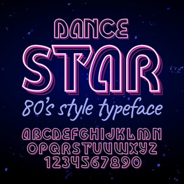 Оригинальный шрифт этикетки с названием «dance star». Бесплатные векторы