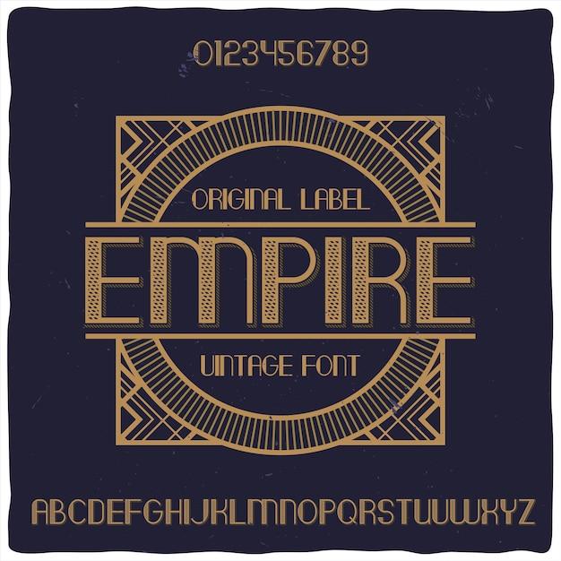 「empire」という名前のオリジナルラベル書体 無料ベクター