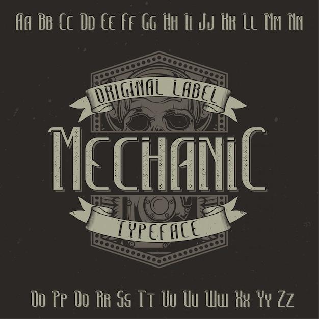 Оригинальный шрифт этикетки под названием «механик». подходит для любого дизайна этикеток. Бесплатные векторы