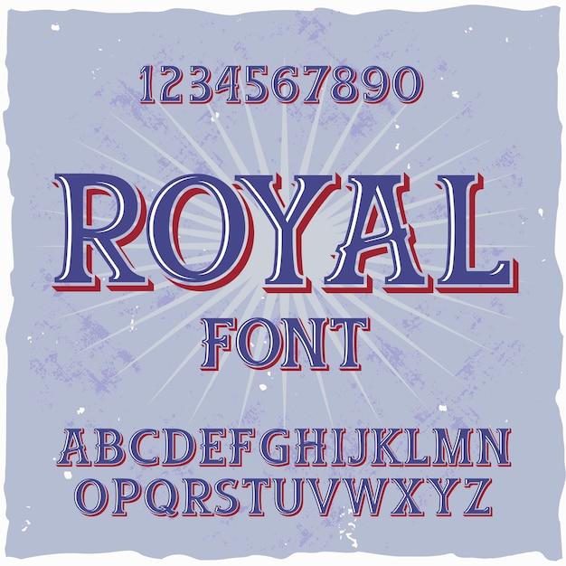 「royal」という名前のオリジナルラベル書体。あらゆるラベルデザインに適した手作りフォント。 無料ベクター