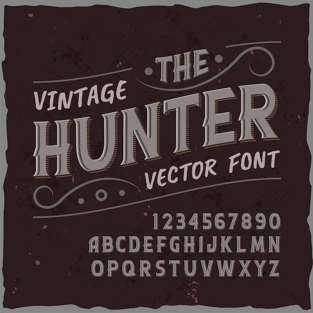 Оригинальный шрифт лейбла «охотник». Бесплатные векторы
