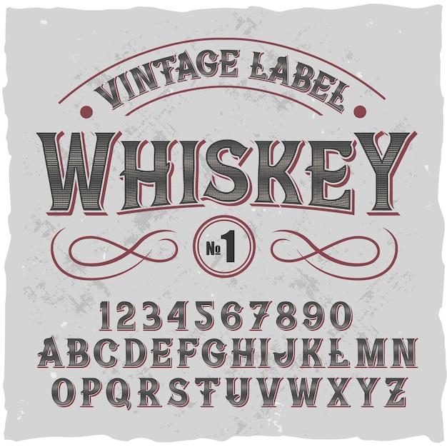 Оригинальный шрифт этикетки - «виски». Бесплатные векторы