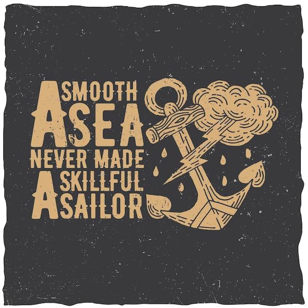 부드러운 바다라는 단어가 포함 된 원래 해상 포스터는 숙련 된 선원 일러스트를 만들지 않았습니다. 무료 벡터