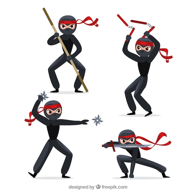 Original ninja character collection with flat design Free Vector