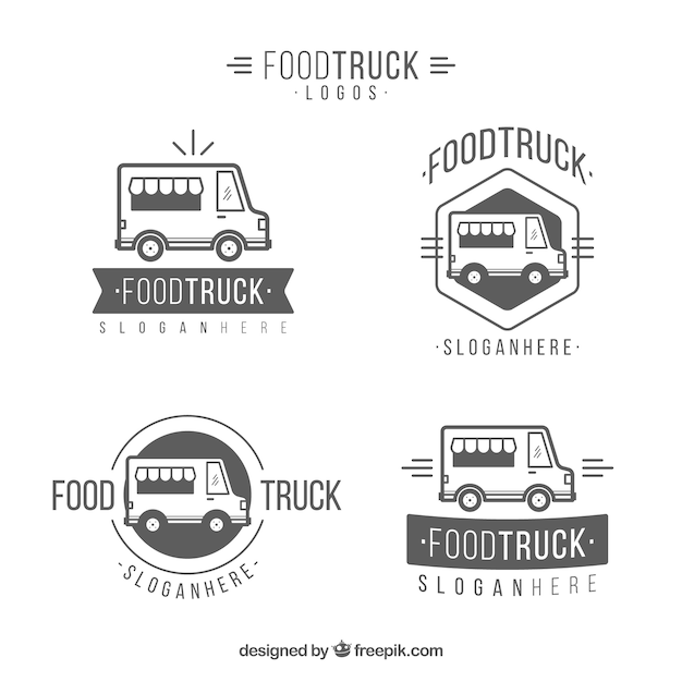 Original pack of elegant food truck logos