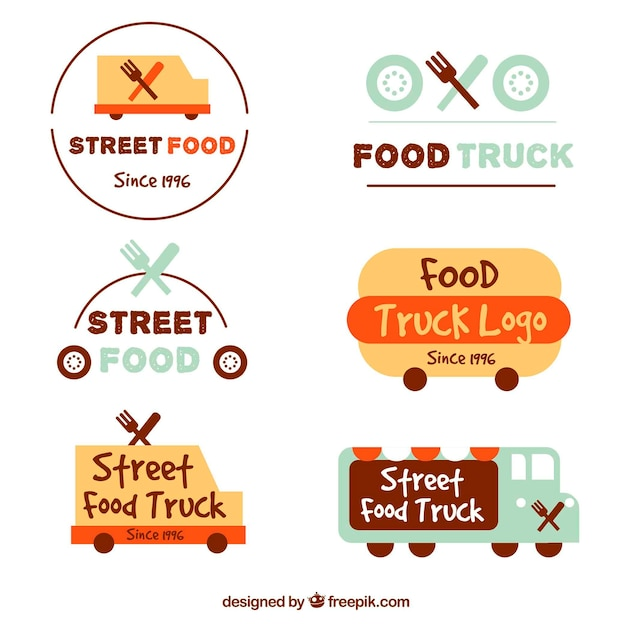Original pack of fun food truck logos