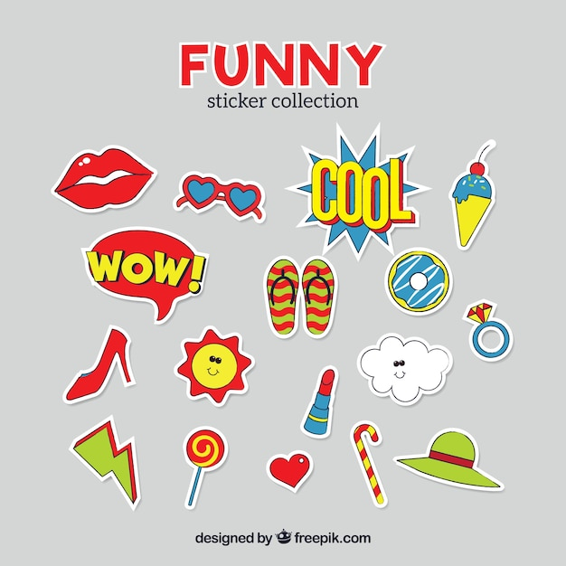 Original pack of funny stickers