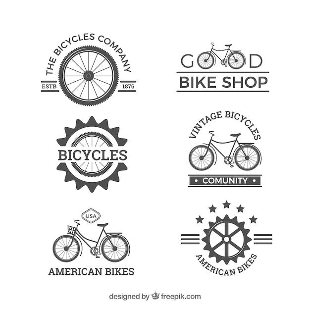 Original pack of vintage bike logos Free Vector