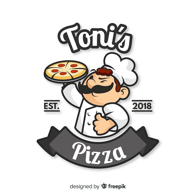 Original pizza restaurant composition Free Vector