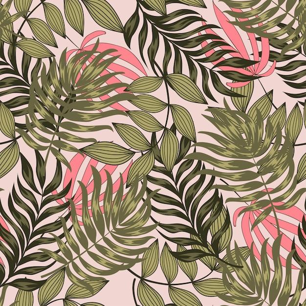 Оригинальный тропический бесшовный узор с яркими листьями и растениями на пастельном фоне Premium векторы