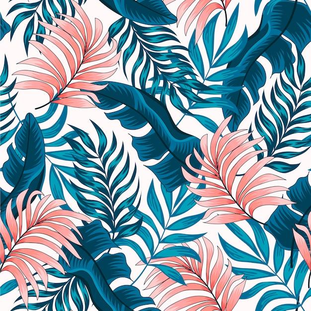 Оригинальный тропический узор с яркими растениями и листьями на светлом фоне Premium векторы