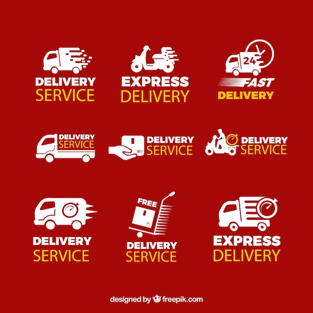 Original set of delivery labels Free Vector