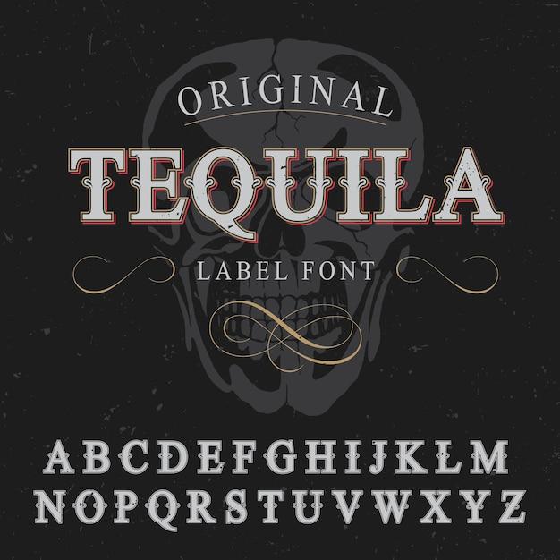 アルファベットと頭蓋骨のイラストの画像とオリジナルのテキーララベルフォントポスター Premiumベクター