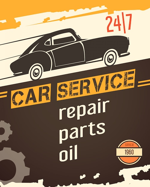 Original vintage auto service garage banner for sale with retro car black silhouette abstract vector illustration Free Vector