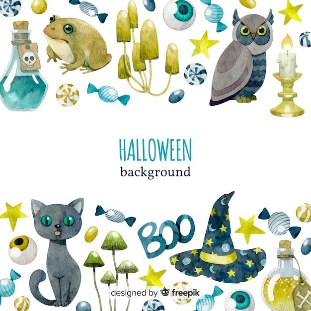Original watercolor halloween background Free Vector