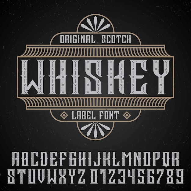 Original whiskey poster with label font in vintage style  on black Free Vector