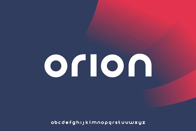 Orion、クリーンテクノロジーをテーマにした小文字のアルファベットフォント。モダンなミニマリストのタイポグラフィデザイン Premiumベクター
