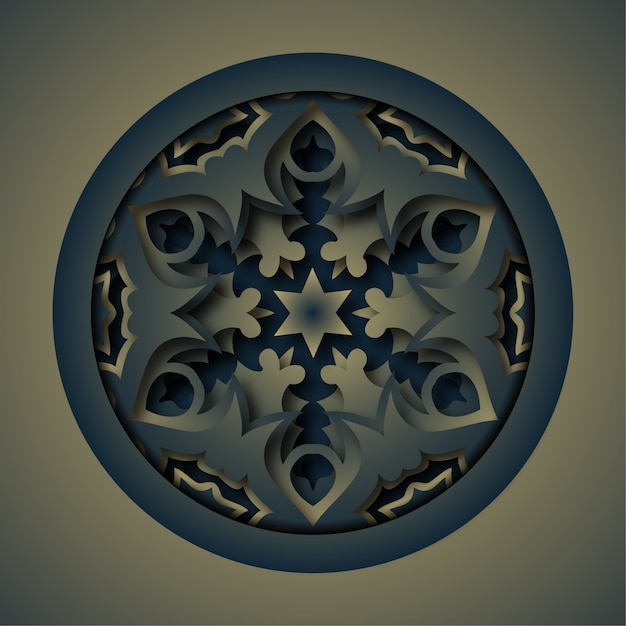 Ornament abstract background, laser cutting mandala Premium Vector