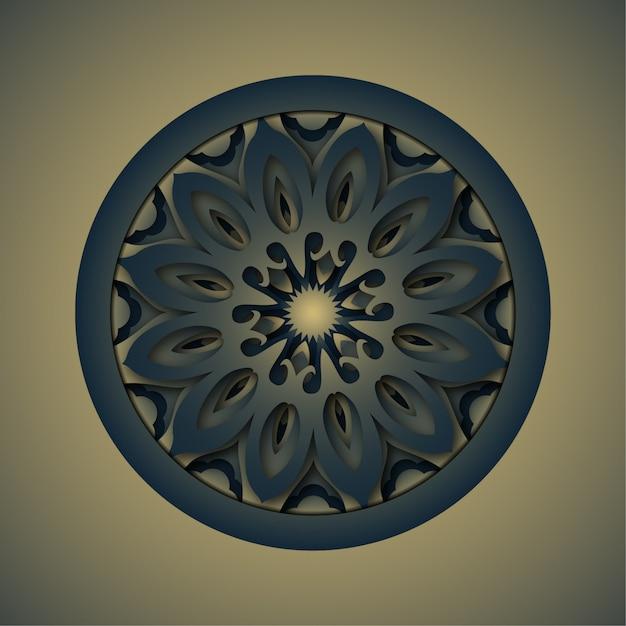 Ornament abstract background, laser cutting mandala Premium Vector