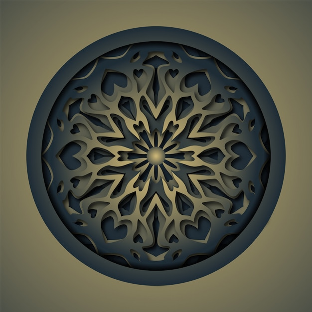 Ornament abstract laser cutting mandala Premium Vector