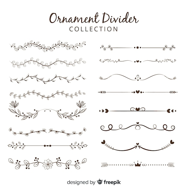 Ornament divider collection Free Vector