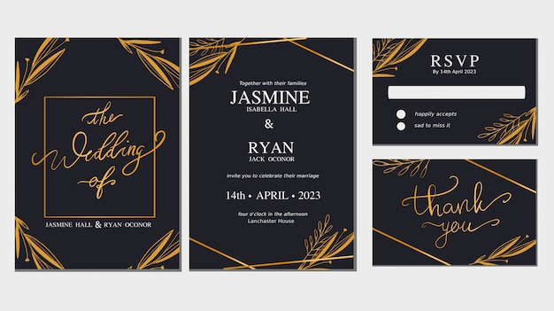 Ornament floral save the date wedding invitation card collection vector set. Premium Vector