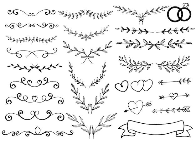 Ornamento disegnato a mano per carta di invito a nozze Vettore gratuito