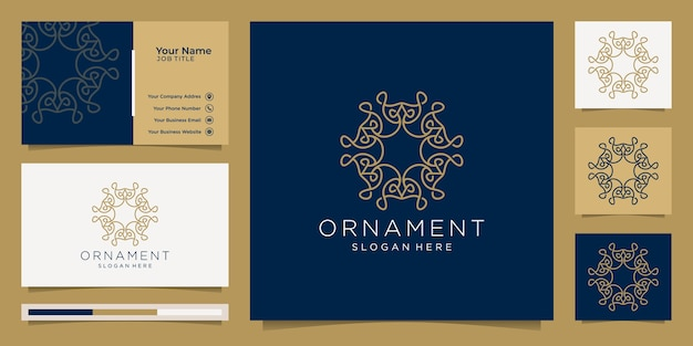 Ornament logo line art style luxury and business card Premium Vector