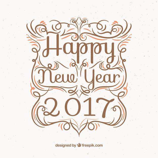 Ornamental background of happy new year 2017 in vintage style Free Vector