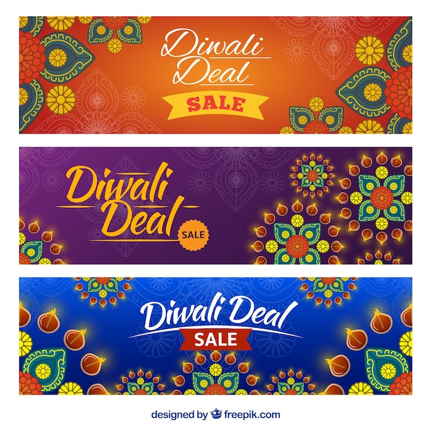 Ornamental banners of diwali deals Free Vector