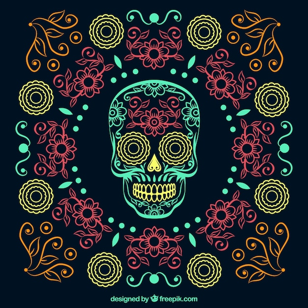 Ornamental beautiful hand drawn day of the dead background  Free Vector