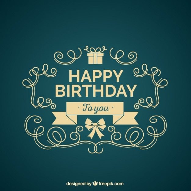 ornamental birthday card vector free download