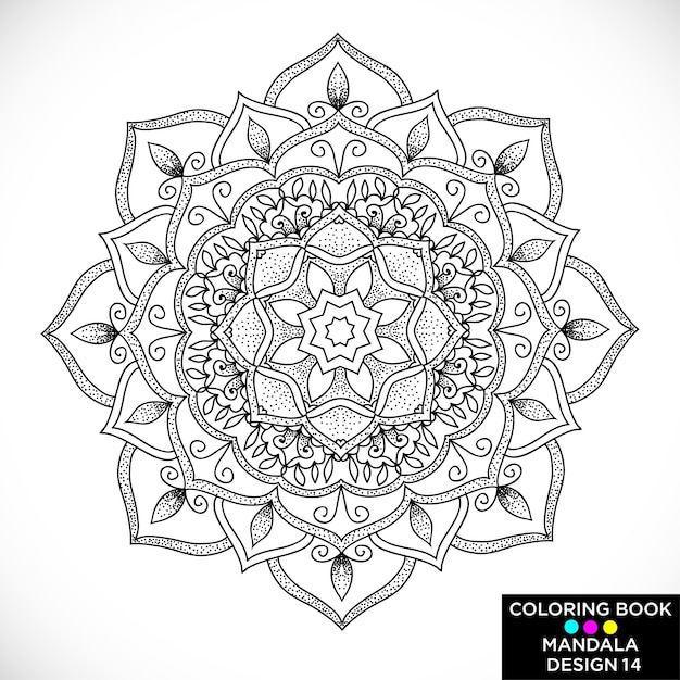 Ornamental Black Mandala For Coloring Book Free Vector